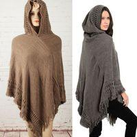 Wholesale Ladies Hooded Cloaks - hooded sweater knitting women cloak fring ladies poncho bat sleeve cape tassel shawl female loose pullover winter women blouse