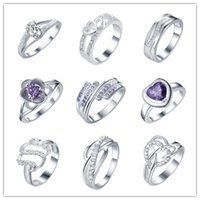 Wholesale cheap quality gifts - Mixed Style Zircon Rings 925 Silver fashion jewelry 7# 8# size top quality romantic Valentine's Day gift free shipping cheap hot 9pcs   lot