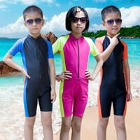 Wholesale Boys Swim Suits - Short Sleeve Children Wetsuit Kids Lycra Shorty Wet Suit For Boys Girls Swim Scuba Diving Suit Anti-UV Dive Skin Wetsuit H