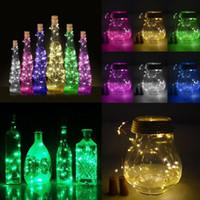 nachtlampen hochzeit großhandel-Hochzeitsbevorzugungen Sonnenweinflasche Cork Shaped-Schnur-Licht 10 LED Nachtfee-Licht-Lampe Geschenk