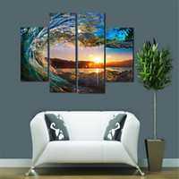 Wholesale Landscape Ocean Oil Painting - 4 Panel Florida Seascape Canvas Wall Art Ocean Wave for Home Office Inner Wall Decor Sunset on Sea Landscape Picture Print on Canvas