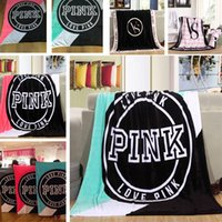 Wholesale Sat Wholesale - lOVE PINK VS Blanket Soft Blankets Manta Size 130cm*150cm Carpet Towel Sofa Sleep Nap Plane Beach Air Travel Sitting Room for Spring Autumn
