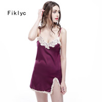 Wholesale Womens Hot Nightwear - Wholesale- free shipping womens sexy nightgowns fashion lingerie nightwear for female ladies satin silk lace embroidery mini nightdress hot