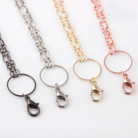 Wholesale Magnetic Clasp Necklace Rhinestone - 24 Inch Infinity Chain Cross Chain Circle O Sweater Chain Lobster Clasp Jewelry Accessories Fits Magnetic Glass Floating Lockets Necklace