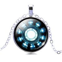 Wholesale Iron Man Arc - Wholesale-Iron Man Arc Reactor Pattern Glass Necklaces & Pendants Silver Plated Color Statement Necklaces For Men Women Jewelry Collares