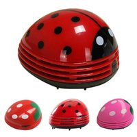 Wholesale Hot Air Brushes - Cute Lovely Ladybug Dust Collector Cleaning Brushes Mini Desktop Vacuum Cleaner Home Office Keyboard Cleaner Hot New