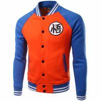 Wholesale Mens Casual Slim Dragon - New Black Baseball Jacket Men 2017 Autumn Brand Mens Anime Dragon Ball Varsity Jacket Casual Fleece Cotton Jackets Veste Homme
