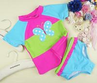 Wholesale Swim Wear 3t Girls - Baby girls butterfly embroidery swimswear kids swimsuit children swim wear baby girls's beachwear bathing suit for baby girls