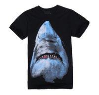 Wholesale Tee Shirt Women Design - Wholesale-Free Shipping Hot Famous Brand Design Giv FW Shark Print Shirt Fashion Women and Men Short Sleeve T-Shirt Shirts Tops Tees Black
