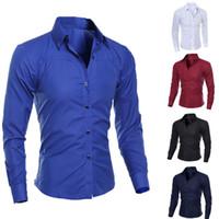 ingrosso casual shirts-Luxury Mens Slim Fit Camicia a maniche lunghe Camicie Casual formale Camicie commerciali Solid Brand Abbigliamento camisa social masculina M-4XL