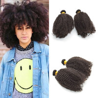 Wholesale afro weaves for black hair for sale - Afro Kinky Curly Human Hair Weft for Black Women Unprocessed Mongolian Bundles Natural Color Virgin Hair FDSHINE