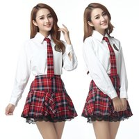 Wholesale sexy school white girl - plus size XXXL lingerie school girl cosplay long sleeve sexy costumes sexy student uniform tie big size sexy lenceria top women