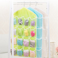 Wholesale Wholesale Closet Storage - Hot Selling 16 Pockets Foldable Wardrobe Hanging Bags Socks Briefs Organizer Clothing Hanger Closet Shoes Underpants Storage Bag JC0202