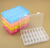 Wholesale Purple Pills - 24 Grid Of Transparent Plastic Jewelry Box Transparent Storage stash Box organizer kitchen tool for pill container or Small items
