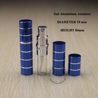 Wholesale cobalt perfume - 5pcs x 5ml Cobalt Blue Aluminium+Glass Perfume Bottle 5cc Stripe Design Liquid Atomizer Small Spray Perfume Bottle Free Shipping