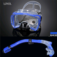 Wholesale Silicone Swimming Goggles - Wholesale- LOYOL Diving Mask snorkel set silicone big Adults Professional swimming glasses scuba spearfishing snorkeling diving goggles