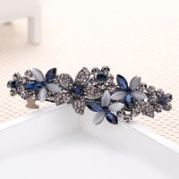 Wholesale Vintage Rhinestone Hair Clips - 2016 Elegant Shining Royal Blue Wedding Bridal Hair Accessories Vintage Rhinestones Beaded Floral Barrettes Hair Clips