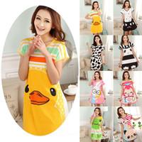 Wholesale S Z1 - Wholesale-Hot Selling New Summer Women Cute Animals nightgown Cartoon Polka Dot Sleepwear Pajamas Short Sleeve Sleepshirt Night Rope Z1