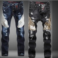 Wholesale Mens Embroidered Jeans - Biker jeans for men ,Mens Embroidered Blue Black Jeans Male Eagle Holes In Jeans Slim Straight Men's Tide Brand Designer Jean Plus Size