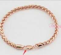 Wholesale Wheat Link Bracelet - Wholesale-5mm New Fashion Jewelry Mens Womens Wheat Link Chain 18K Rose Gold Filled Bracelet Gold Jewellery Free Shipping C02 RB