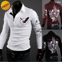 Wholesale Eagle Tattoo Polo - Fashion 2016 Winter Classic Long Sleeve Eagle Tattoo Slim Fit Lapel Polo shirt Shirts Polos Printed Homme 3Color M-XXL