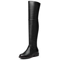 botas de oficina de mujer al por mayor-Botas de mujer sobre la rodilla Chaussures Femme cremallera Zapatos de plataforma de color sólido Mujer Oficina Daily Footwear Tamaño 34-43