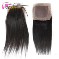 Wholesale hair silk products - Unprocessed 4x4 Free Part Silk Top Closure Brazilian Virgin Straight Silk Base Closure 100% human hair closure XBL Hair Products