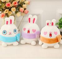 ingrosso matrimonio della bambola del coniglio-Sciarpa kawaii Love Rabbit 18CM DOLL peluche anello portachiavi GIOCATTOLO Bouquet da sposa regalo GIOCATTOLO DOLL