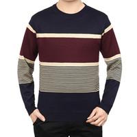 Wholesale 55 Clothing Men - Wholesale-2016 New Men Stripe Pullover Men's Sweater Autumn Clothing Brand Casual Pullover O Neck sweaters Pull Homme Sweater Men 55