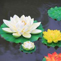 ingrosso pesci falsi pesci-29cm finto fiore di loto serbatoio di pesce giardino piscina di acqua decorazioni fiori di seta per l'ornamento di natale decorazione della festa nuziale forniture