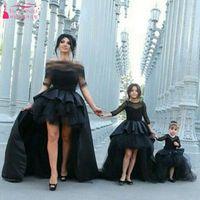 Wholesale Elegant Dress Skirt Children - Black Dynamic Wedding Dress Parent-child outfit 1 2 Sleeve TuTu Skirts Hi-Lo Elegant Bridal Gowns Sweety Child Flower Girls Dress
