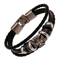 Wholesale Crossings Weave - Fashion Jewelry Relief Cross Alloy Leather Bracelet Men Casual personality PU Woven Beaded Bracelet Vintage Punk Bracelet B0448
