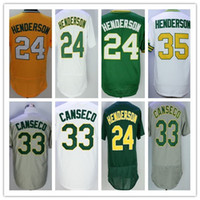 Wholesale Vintage Wine Cooler - Cheap 24 35 Rickey Henderson Jersey Throwback Stitched Oakland 33 Jose Canseco Flexbase Cool Base Jerseys Vintage White Green Yellow