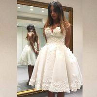 Wholesale Size 16 Informal Wedding Dress - knee length wedding dresses 2017 Fashion Short A Line Wedding Dress 3D Floral Appliques Sweetheart Sleeveless Backless Informal Bridal Gown