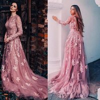 Wholesale Gold Belted Evening Gowns - Special Tulle Jewel Neckline Long Sleeves A-line Prom Dresses With Lace Appliques & Belt Open Back Long Evening Gowns vestidos de fiesta