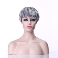 Wholesale Sexy Gray Wigs - High Quality New Arrival Sexy Grey Straight Synthetic Woman's Gray Hair Wig Wigs eOacket Free Shipping
