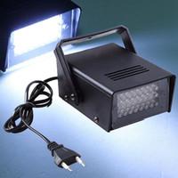 mini dj luz venda por atacado-Mini AC 90-240 V 3 W 24 LEDs Estágio Luz Estroboscópica Efeito de Iluminação de palco Levou Plana para DJ Disco Party KTV UE EUA Plug