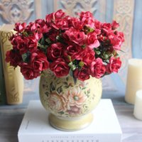Ano Novo Hot Vivid 5 Ramos Outono Artificial Fake Rose Flower casa quarto nupcial Hydrangea Decor Real Touch B53