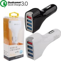 Wholesale Quick Gps - Car charger 3A QC 3.0 Quick Charger Fast Charging 4 usb ports Car charger for ipad iphone samsung android phone gps pc with retail package