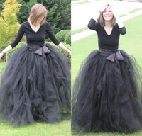 Wholesale Cheap Autumn Fashion Ladies - Cheap Floor Length Ball Gown Skirts For Women Ruffled Tulle Long Skirt Adult Women Tutu Skirts Lady Formal Party Skirts With Sashes