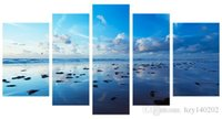 Wholesale Ocean Painting Piece - YIJIAHE Fashion Canvas Painting Art ocean 5 Pictures Print On Canvas Large 5 Piece Wall Pictures For Living Room FJ34