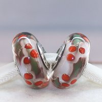 Wholesale Holly Flower - S925 Sterling Silver Screw Core Christmas Holly Murano Glass Charm Beads Fit European Jewelry Bracelets Necklaces & Pendants