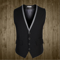 Wholesale Color Plus Formal Man Dress - Men Suit Vest 4 Buttons V Collar Classic Dress Slim Fit Vests Male Sleeveless Mens Formal Wedding Waistcoat Plus Size