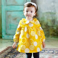 Wholesale Neck Ring Dress - New 2017 Girls Dresses Circle Ring Pattern Kids Girl Cotton Thicken Warmer Dress Doll Collar Children's Dresses Toddler Dress Yellow A7720