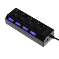 Wholesale Usb Expansion Splitter - High Quality External Multi Hub Expansion 4 Ports USB 2.0 On Off Switch LED Splitter Black White two colors
