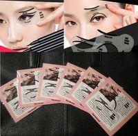 Wholesale eyeliner template makeup tools online - New Makeup Tool Eyeliner Stencil Kit Makeup Card Template Top Bottom Liner Eye Pochoir DIY Card