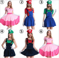 Wholesale Mario Luigi Costumes Adults - Wholesale-super mario costume women luigi costume clothing sexy plumber costume mario bros fantasia super mario bros costumes for adults
