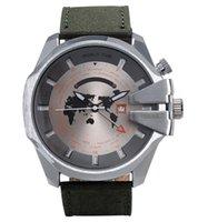 Wholesale Canvas Water Round - Fashion Brand Men's Big dial Leather   Canvas strap date Calendar quartz wrist watch With logo