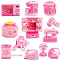 juguete de cocina gratis al por mayor-Los niños mini aparatos juegan a la casa juguetes niñas refrigerador cocina juguete simulación iluminación eléctrica características envío libre de DHL