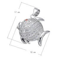 DIY Phone Rope Charms Cubic Zirconia Micro Inlay Copper Pendant Fish Platinum Plated 18x17mm Hole: Cerca de 3.7mm 10 PCS / Lot Frete Grátis